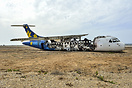 The remains of ATR 42 4X-ATO after being used as a fire exercise