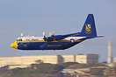 The Blue Angels Lockheed C-130 performing a low flypast over San Franc...