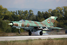 Bulgarian Air Force Mig 21 landing at Graf Ignatievo after a training ...