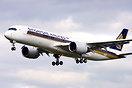 First flight of Singapore Airlines #3 A350, test registration F-WZFZ, ...