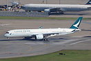 Lining up on runway 25L for the first commercial flight of a Cathay Pa...