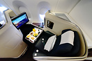 Cathay Pacific's new business class seat on the A350, featuring a bran...