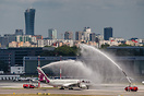 Water salute for first arrival of new type for Qatar Airways in Warsaw