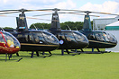 The Robinson helicopter range: R-22, R-44 and R-66 on display at Sywel...