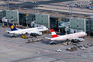 Lufthansa D-AIUD and Austrian OE-LBP next to each other at the gates o...
