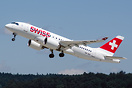 First Swiss C-Series CS100 taking off to Prague on the 2nd day of comm...