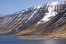 An overview of Isafjordur Airport in northwestern Iceland.  The 1400m ...