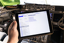 EFB (Electronic Flight Bag) in operation, showing the Operation Manual...