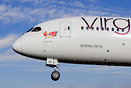 Closeup head shot of the Virgin Atlantic's 787-9 long haul dreamliner