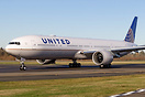 United Airlines' first extended range 777-300ER taxing on her first fl...