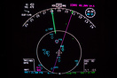 Navigation Display (ND) showing a strong wind correction angle due to ...