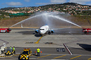 Water canons to celebrate their first flight to Madeira, performing a ...