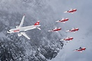 Swiss CS100 and the Patrouille Suisse in action over St. Moritz during...