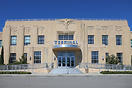The art deco style terminal building at Lakefront Airport, New Orleans...