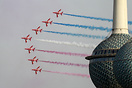 RAF Red Arrows performing in Kuwait next to the country's most iconic ...