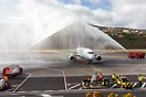 Brussels Airlines maiden flight to Madeira welcomed with a water canon...