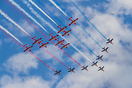 Formation flying with AlphaJets of the Patrouille de France to commemo...