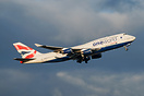 BA's OneWorld 747 climbs up on her departure to Heathrow London at the...