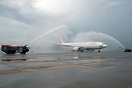 Inaugural flight from MEL to HKG welcome with a water cannon salute
