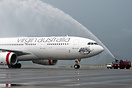 Inaugural flight from MEL to HKG welcome with water cannon salute