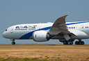 Close up of El Al's first 787-9 dreamliner fully painted taking off wi...