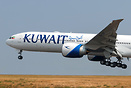 Kuwait Airways' latest 777 nose shot closeup landing after her first f...