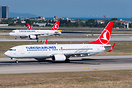 Waiting for departure with Turkish Airlines A320 TC-JUE on the paralle...