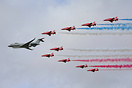 The Red Arrows flying in formation with a RAF Sentinel ZJ691 at Scampt...