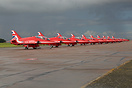 The Red Arrows at their home base RAF Scampton.