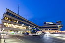 Berlin-Tegel Airport main entrance and tower at twilight.