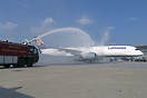 Water salute welcoming Lufthansa A350-900 first flight to Hong Kong!
