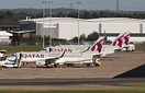 Three of the four Qatar Airways A320's parked up that are being used a...