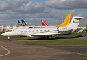 Vichai Srivaddhanaprabha's G650 of Thailand caught at East Midlands wh...