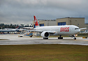 Swiss Air's latest Boeing 777-300ER on her delivery flight to Zurich, ...