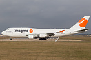 This Boeing 747-481(BCF) is now sporting Magma Aviation, caught at Don...