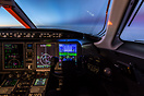 In the cruise at 43,000ft, the first light of day begins to stream in ...
