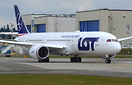 LOT Polish Airlines first Boeing 787-9 Dreamliner SP-LSA about to depa...
