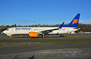 Icelandair's first Boeing 737-8 MAX TF-ICE taxing out in warm golden s...