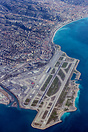 A superb overview of Nice airport with the old town visible in the top...