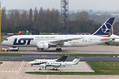Overlooking the MAEL apron with LOT Polish Airlines Boeing 787-8 SP-LR...