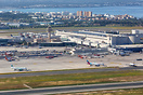 Overview Palma de Mallorca airport with the main terminal and tower