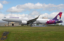 Perfect side shot of the brand new A321neo in Hawaiian new livery show...