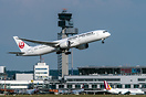 First visit of a JAL Dreamliner to Dusseldorf airport. Diversion from ...