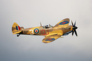 Recently painted Spitfire displaying at Old Warden evening air display