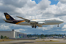 UPS latest Boeing 747-8 Freighter coming back from painting
