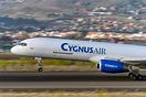 Arrival at sunset of 757 Cygnus with the new paint that will be applie...