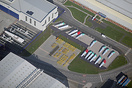 An aerial view of the Airbus UK wing storage area at Hawarden. The win...