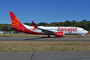 First Boeing 737-8 MAX for SpiceJet taxing down the runway