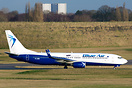 """Leased by LOT Polish Airlines"" stickers but today operating Blue Air'..."