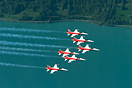 Northrop F-5 of Patrouille Suisse over Lake Brienz during the Axalp Ai...